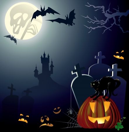Halloween night background.Contains transparent object. EPS 10. Illustration