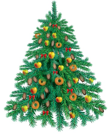 pine apple: Tasty Christmas tree decorated with apples and bagels