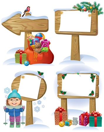 New wooden boards signs decorations Christmas tree, gifts and toys Vector