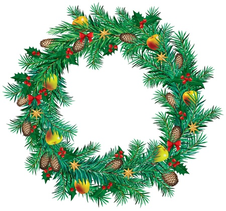 Christmas wreath are decorated in apples, berries and stars Vector