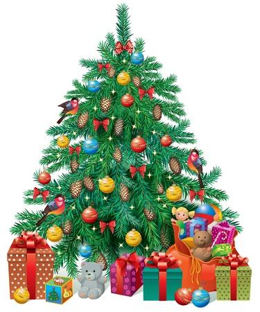 bolsa de regalo: Acicalado �rbol de Navidad con regalos y juguetes Contiene objetos transparentes Vectores