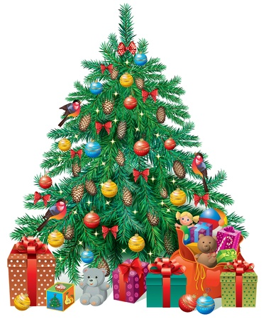 Spruced Christmas tree with gifts and toys  Contains transparent objects  Vector