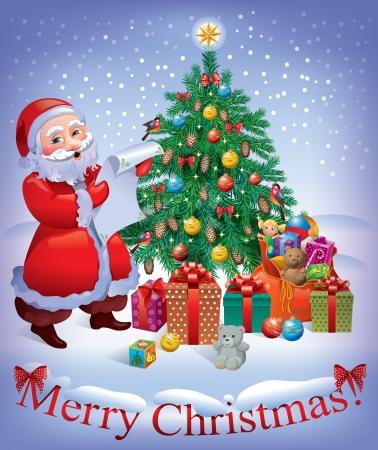 caja navidad: Feliz tarjeta de Navidad con el �rbol de Navidad Santa y contiene objetos transparentes Vectores