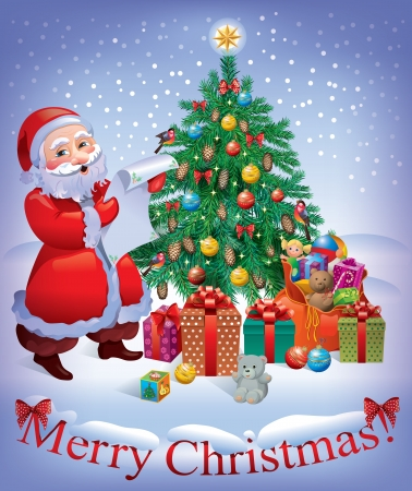 Merry Christmas card with Santa and Christmas tree  Contains transparent objects Illustration
