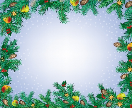 New Year and Christmas frame made of spruce  Contains transparent objects Vector