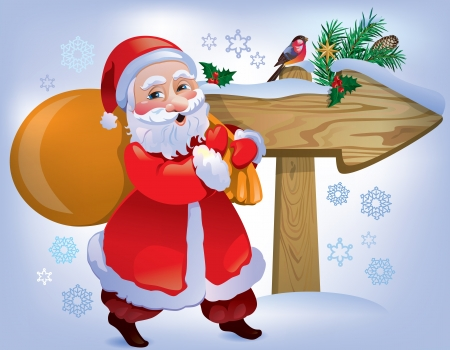 brings: Santa Claus brings gifts in the direction of the pointer