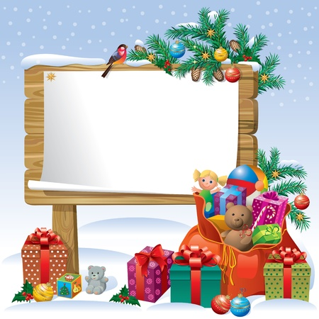 christmas holiday background: Christmas wooden sign board decorating the Christmas tree, gifts and toys