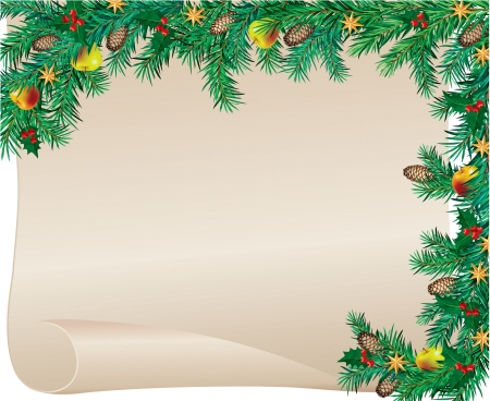 Christmas frame made ​​of spruce with a blank paper  Contains transparent objects EPS 10  Vector