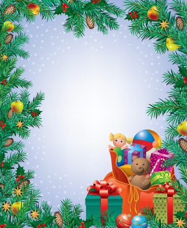 Vertical Christmas frame  Contains transparent objects Eps 10  Vector