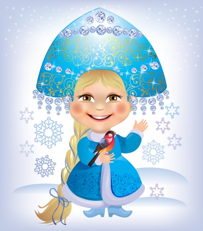 The little girl - Snow Maiden holding a bullfinch. Contains transparent objects.Eps 10. Vector