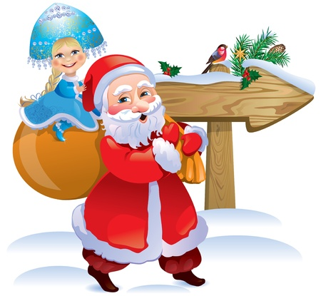 Snow Maiden and Santa Claus (Santa Claus) wooden sign. Contains transparent objects.Eps 10. Vector