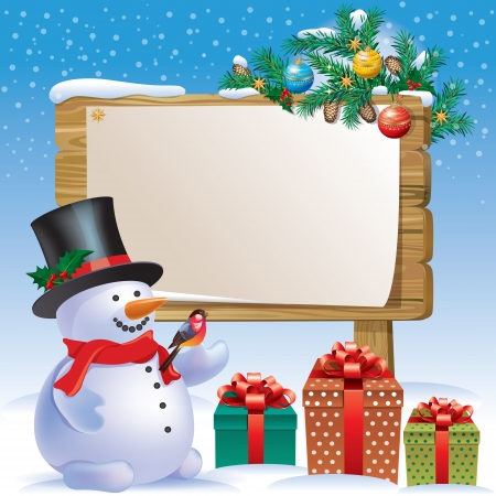 Snowman wooden sign.Contains transparent objects. Vector