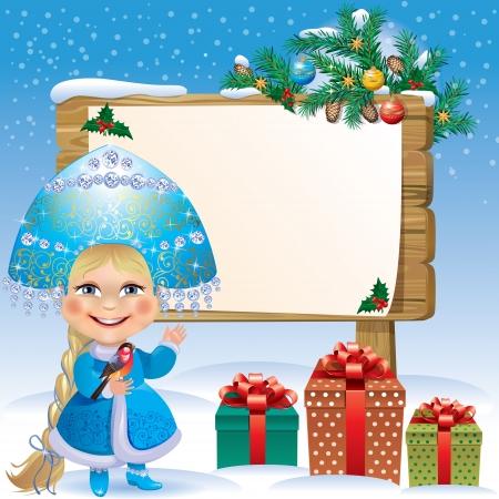 Snow Maiden wooden sign Stock Vector - 15448778