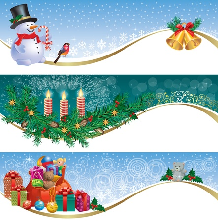 Decorative Christmas banners.Contains transparent objects. EPS10. Vector
