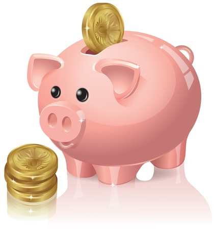 falling money: Piggy bank with coins falling into it