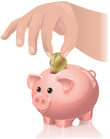 The hand throws a coin in a piggy bank. Contains transparent objects. Eps 10