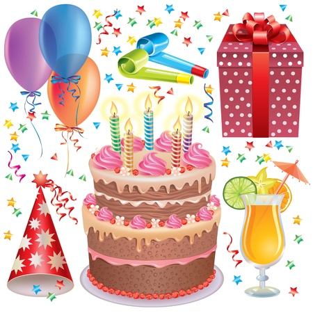 Birthday set.Contains transparent objects Stock Vector - 15686188