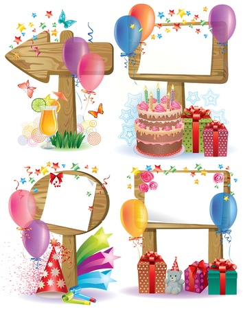 Birthday wooden sign.Contains transparent objects Vector