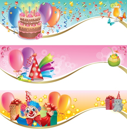 cake ball: Decorative birthday banners.Contains transparent objects.  Illustration