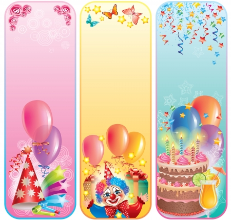 Vertical birthday banners.Contains transparent objects. Stock Vector - 15844003