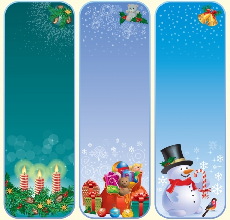 snowman wood: Vertical Christmas banners.Contains transparent objects.