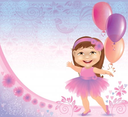 Glamorous birthday background with little girl. Contains transparent objects.  Vector