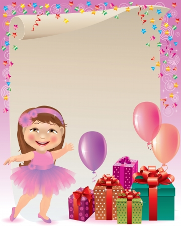 Pink birthday background. Contains transparent objects. Vector