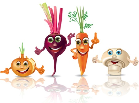Funny vegetables_onion, beet, carrot, mushroom Illustration contains transparent object