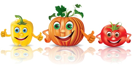 pumpkin tomato: Funny vegetables_paprika, pumpkin, tomato  Illustration contains transparent object  Illustration