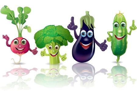 Funny vegetables, radishes, broccoli, eggplant, cucumber  Illustration contains transparent object  Illustration