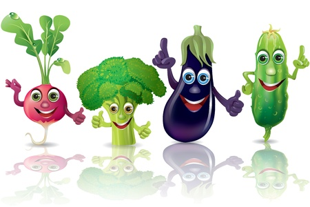 Funny vegetables, radishes, broccoli, eggplant, cucumber  Illustration contains transparent object  Vectores