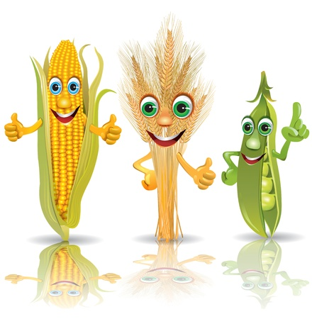 animated: Funny vegetables, corn, ears of corn, peas.  Illustration contains transparent object.  Illustration