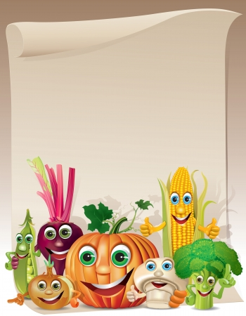 Funny vegetables cartoon company scroll. Illustration contains transparent object. Vectores