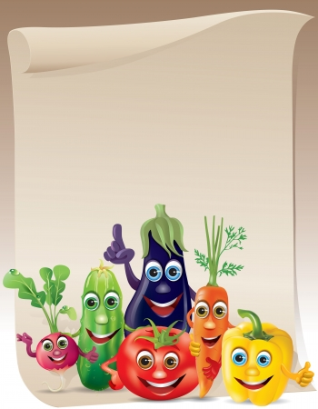 Funny vegetables company scroll. Illustration contains transparent object. Vector