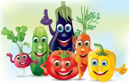 Cartoon company vegetables.  Illustration contains transparent object.