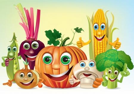 Cartoon fun company of vegetables. Illustration contains transparent object. Vectores