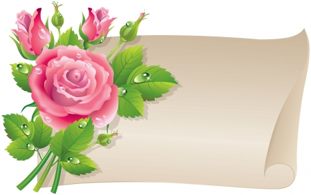 rose petal: Roses scroll   Illustration contains transparent object