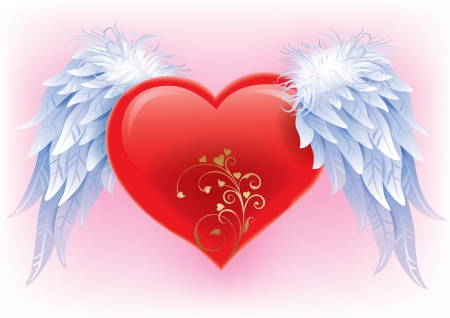 heart with wings: Heart with wings  Illustration contains transparent object