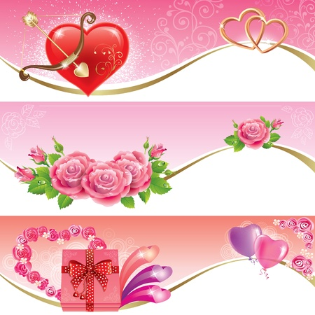 roses and hearts: Valentines Day banners.  Illustration contains transparent object.