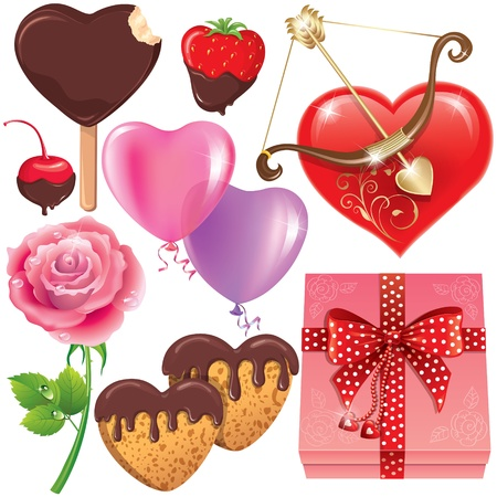 Valentines Day set. Illustration contains transparent object.  Vector