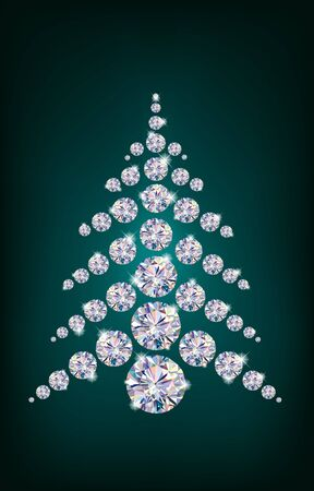 Diamond Christmas Tree. Illustration contains transparent object. Stock Vector - 16259724