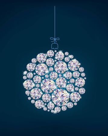 Diamond Christmas ball on blue background.Illustration contains transparent object.  Vector