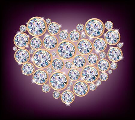 Diamond heart.Illustration contains transparent object.  Vector