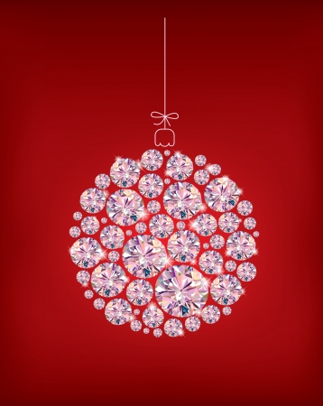 Diamond Christmas ball on red background.Illustration contains transparent object. Vector