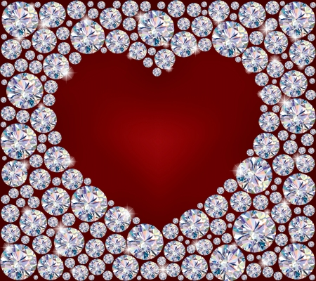Heart of Diamonds.Illustration contains transparent object.  Vectores