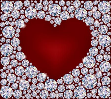 glitter hearts: Heart of Diamonds.Illustration contains transparent object.  Illustration