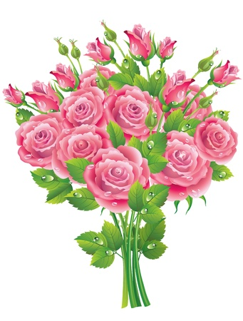 Bouquet of Rosesю Illustration contains transparent object. EPS 10. Vector