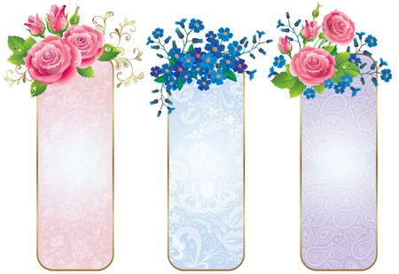 Banners of flowers roses and forget-me-not Иллюстрация