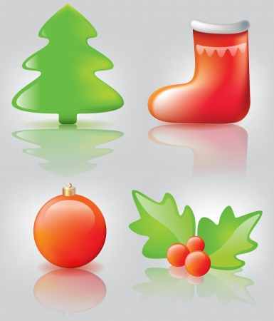 Christmas icons  Illustration contains transparent object  EPS 10 Stock Vector - 16383621