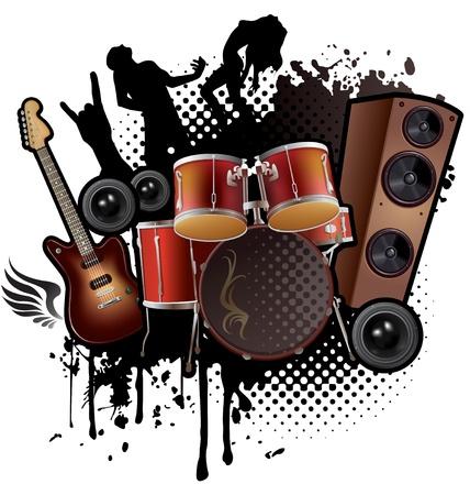 Musica Rock astratto. Contiene oggetti trasparenti Vettoriali